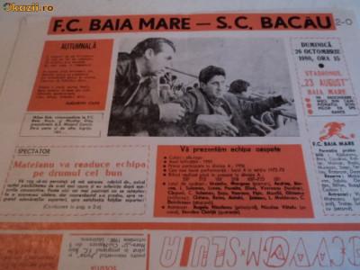 Program fotbal FC Baia Mare - SC Bacau 26.10.1980 foto