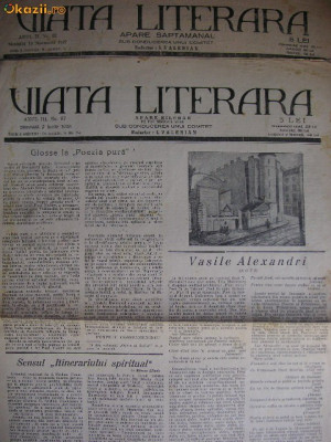 Viata literara ( 2 numere ) - 1927 si 1928 foto
