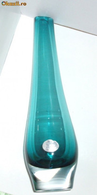 Vaza cristal sommerso handmade Orrefors Suedia - semnata Goran Warff foto