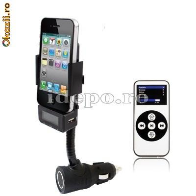 Car kit hands free iPhone cu modulator FM foto