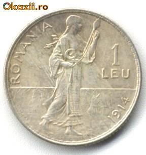1 LEU 1914 CU MARGINE ROTUNJITA STARE APROAPE NECIRCULATA foto