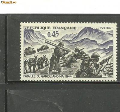 Franta 1969 - VICTORIE MARESAL JUIN, TANCURI, SOLDATI INFANTERIE WWII, MNH, B18 foto