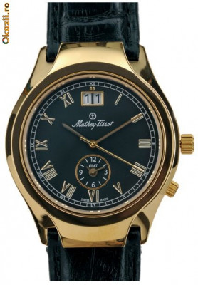 Majestic Dual Time, man's, gold plated ~ Mathey-Tissot ~ Since 1886. Swiss Made. New, 3yw foto
