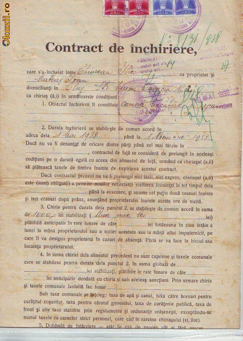 A80 Acte Contract Inchiriere Cluj 1938 timbrat