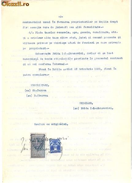 02 Document vechi fiscalizat -Braila -26 Oct 1931 -Contract