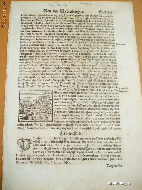 Pagina Munster Cosmographia Universallis 1550 Sibiu