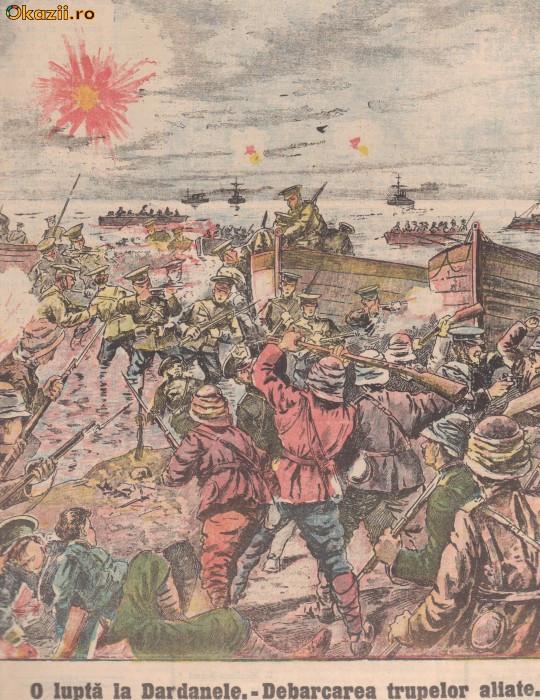 Universul : debarcarea aliatilor in Dardanele (1915,gravura) foto mare