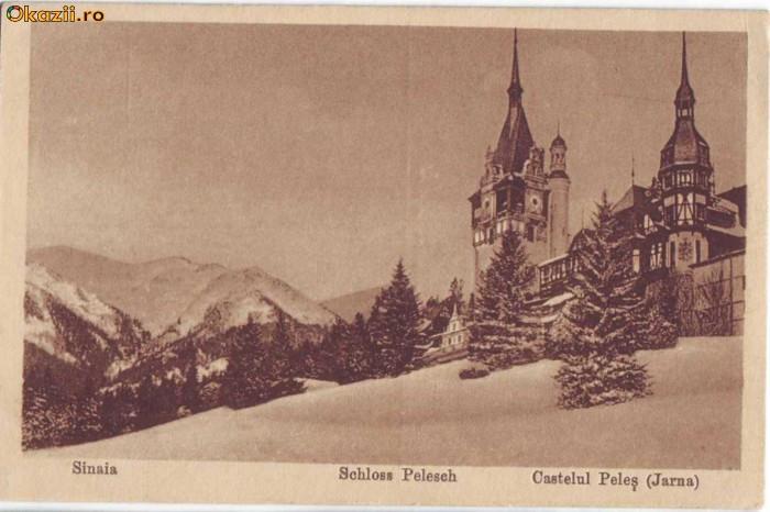 1850 - SINAIA - Castelul PELES ( iarna ) - vedere germana foto mare