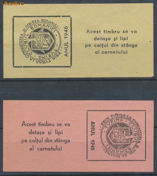 ROMANIA 1946, 1948 2 timbre fiscale rare turism TCR Touring Clubul Romaniei