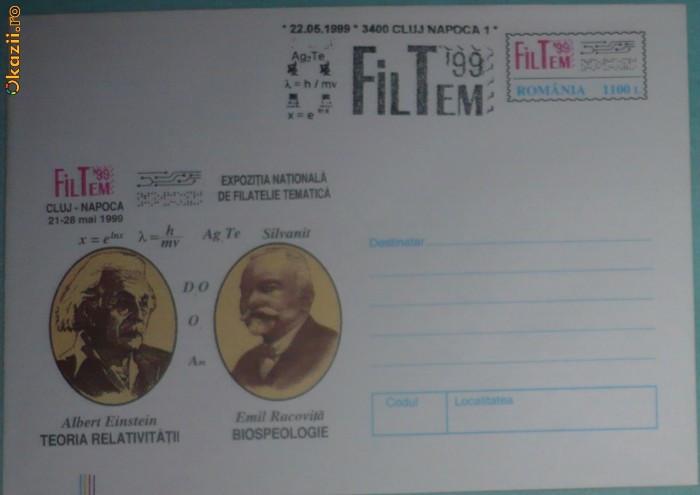 ROMANIA - CLUJ 1999 - EXPOZITIA FILTEM. OAMENI DE STIINTA. INTREG POSTAL (PA13)