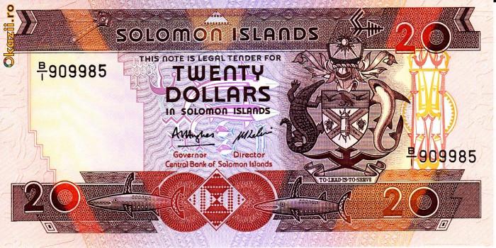 Bancnota Insulele Solomon 20 Dolari (1986) - P16 UNC (CV = $20) foto mare