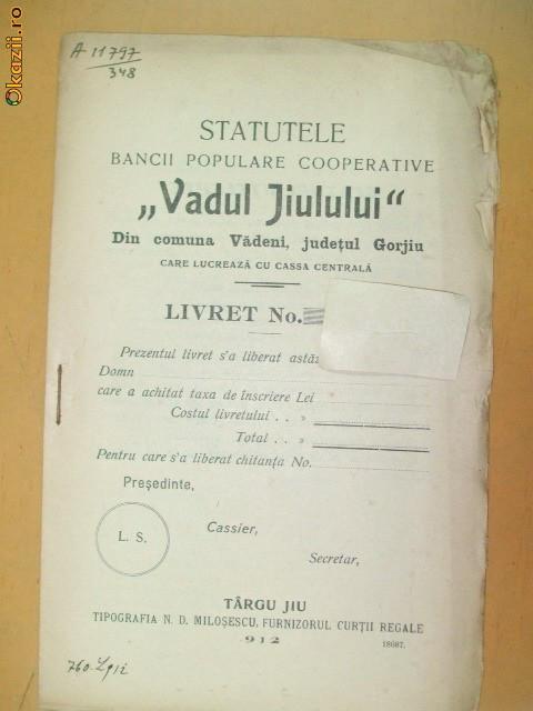"Statut Banca ,,Vadul Jiului"" Gorjiu Targu Jiu 1912"
