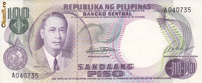 Bancnota Filipine 100 Piso (1969) - P147a UNC foto mare