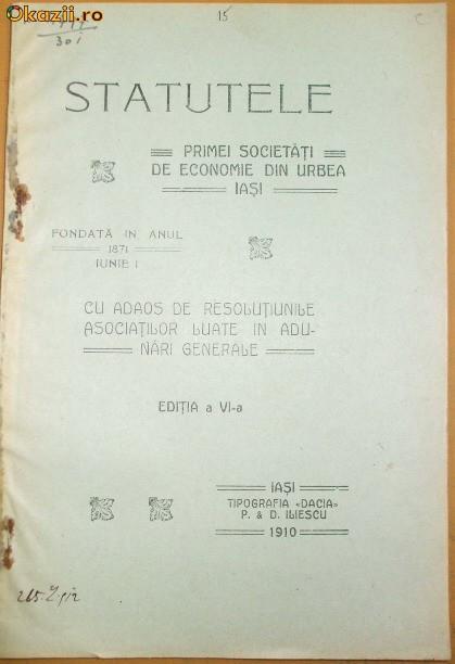 Statute Prima Soc. economie Iasi 1910