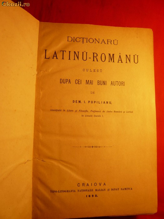 DICTIONARU LATINU-ROMANU - 1892