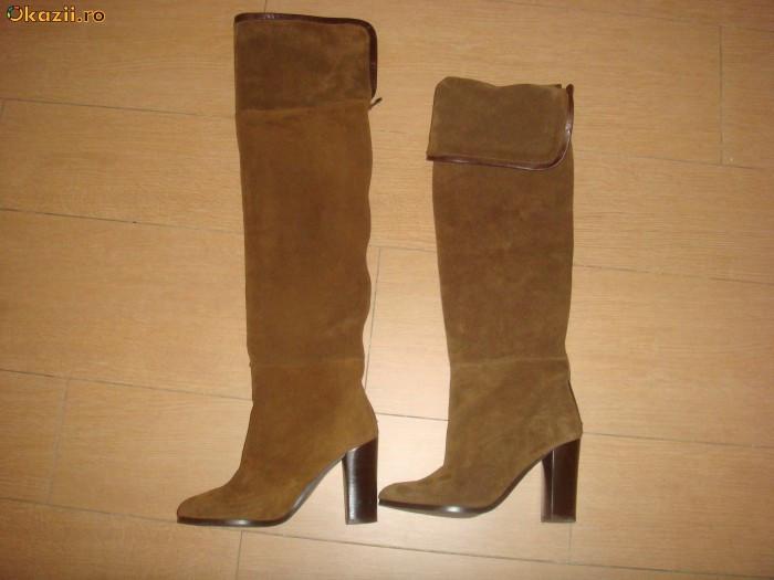 pret nebun noua versiune mai tarziu cizme zara,piele,peste genunchi | arhiva Okazii.ro