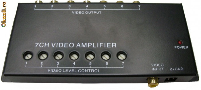 Distribuitor video, cu amplificare, 7 canale,video booster - 3204