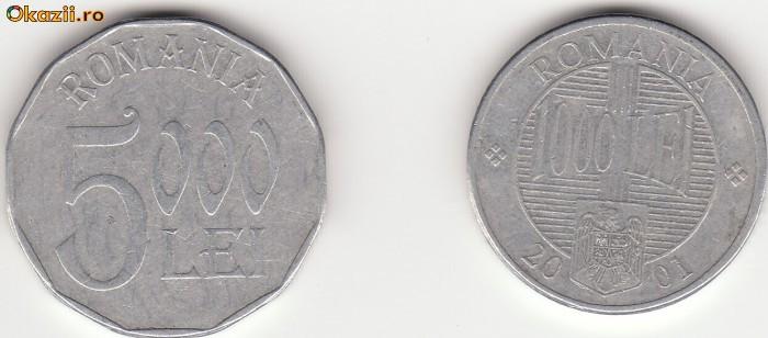 LOT     2  MONEDE 1000 LEI 2001& 5000 LEI 2002,  - MKB 027
