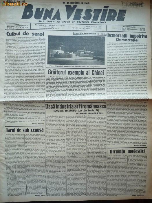 Buna Vestire , ziar legionar , nr.137 , 11 august , 1937