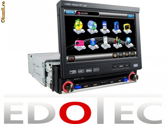 DVD 1 DIN RETRACTABIL NAVIGATIE GPS BLUETOOTH IPOD TV TOUCHSCREEN RADIO foto mare