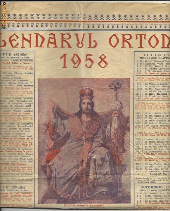 CALENDAR CRESTIN ORTODOX -  1958 foto mare