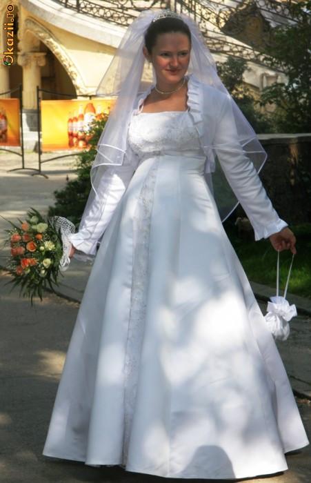 rochie mireasa, voal si bolero- si pt gravide foto mare