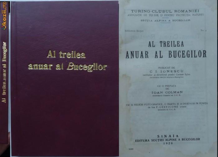 Turing Clubul Romaniei , Al treilea anuar al Bucegilor , Sinaia , 1928 foto mare