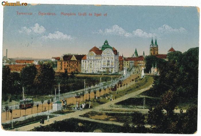 1596 - TIMISOARA - Baia Centrala, bulevardul, tramvai - used - 1918
