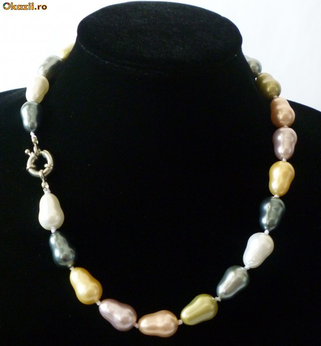 Colier perle de cultura colorate akoya ovale 1,4 cm lungime perla