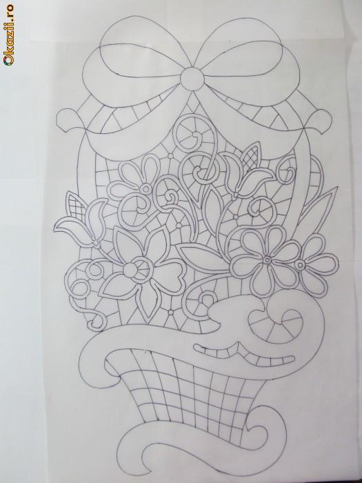 Schita cos cu flori 3 - model laseta -