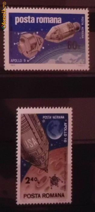 Timbre filatelice de colectie nestampilate Romania, Cosmos, Apollo 9 si 10, 1969, LP 702 foto mare