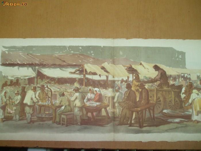 Preziosi, planșă color dublă Vedere în Piață, Bucureștii în 1869