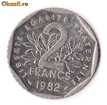 franta 2 francs 1982. Black Bedroom Furniture Sets. Home Design Ideas