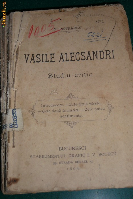 Vasile Alecsandri .studiu critic,1894