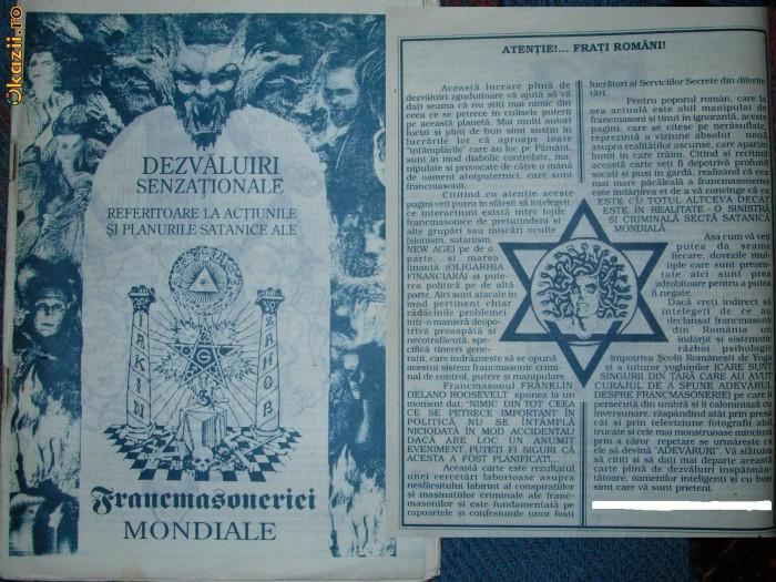 DEZVALUIRI SENZATIONALE ref. la  pl. satanice ale FRANCMASONERIEI MONDIALE