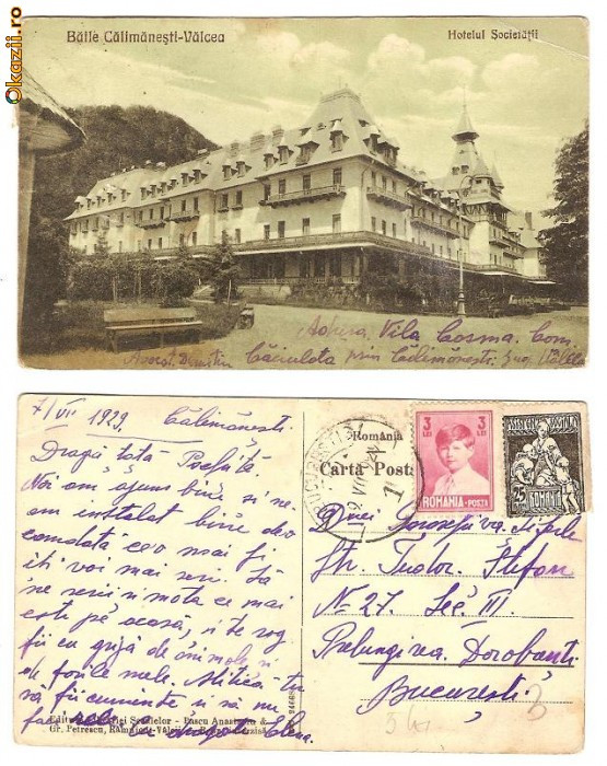 Baile Calimanesti - Valcea - Hotelul Societatii, 1929, circulata