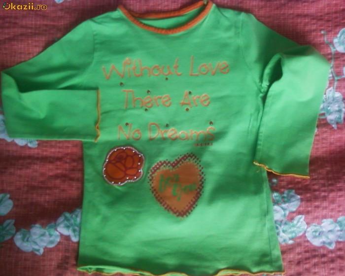 Bluza verde cu portocaliu LOVE foto mare