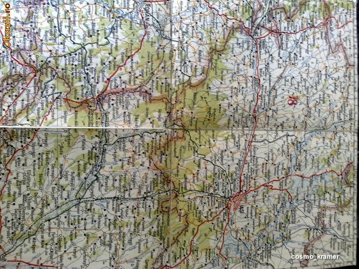 Harta Turing Clubul Roman - interbelica - nr 18 - iasi - roman - bacau - vaslui