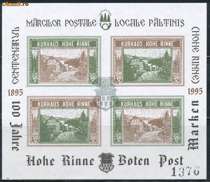 1995 ROMANIA colita bloc de 4 Centenar prima emisiune locala HOHE RINNE Paltinis