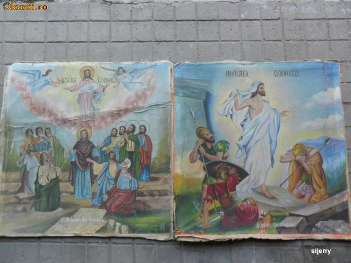 Pereche icoane vechi pe panza 80 x 80 cm. ( Icoana veche - 2 buc ) foto mare