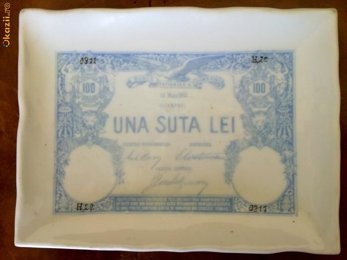 Scrumiera portelan veche, imprimata cu 100 lei 1883