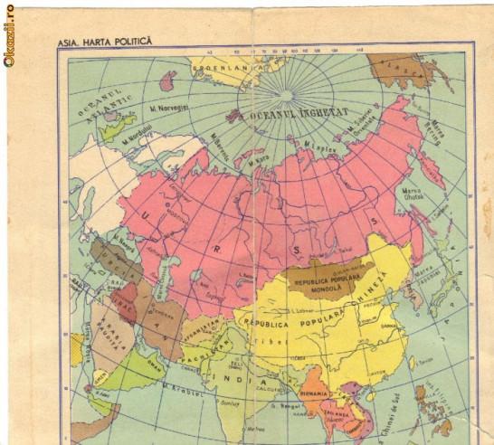 Harta Politica America De Nord Si Asia Fata Verso 1961 Okazii Ro
