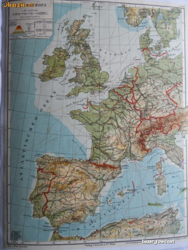 Harta Europa De Vest 1906 Ed Artaria Wien Arhiva Okazii Ro