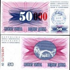 bnk bn bosnia hertegovina 50000 dinari 1993 aunc , p 55d