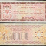 Bnk bn bolivia 5000000 pesos bolivianos 1985 xf, pick 193