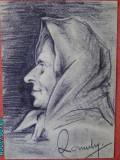 Portret de femeie din Bucovina , in carbune , semnat, Portrete, Realism