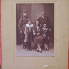 Foto pe carton , Familie  , militar , Galati , interbelica