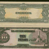 Bnk bn filipine 10 pesos 1943, ocupatia japoneza, unc - bancnota asia