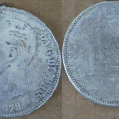 Spania 5 pesetas 1878 DE-M argint