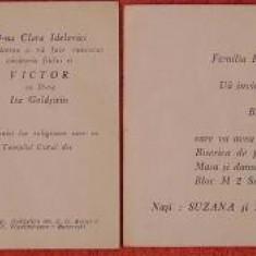2 invitatii : nunta si botez, evrei si ortodocsi, 1959 si 1975